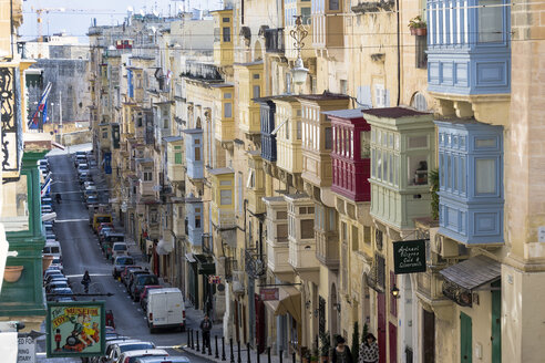 Malta, Valletta, row of houses with typical balconies - WEF000249