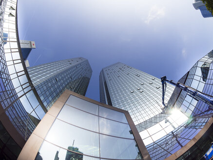 Germany, Hesse, Frankfurt, twin towers of Deutsche Bank, fisheye - AM002873