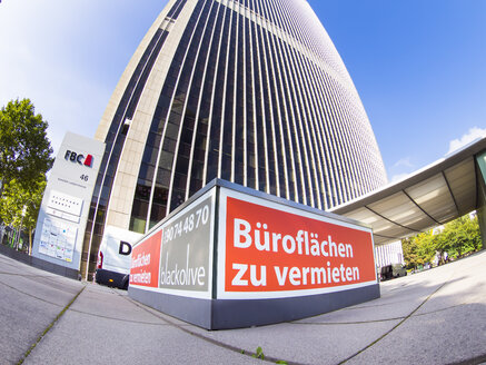Germany, Hesse, Frankfurt, Westend, Frankfurt Office Center, sign office space for rent, fisheye - AM002877