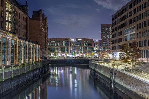 Germany, Hamburg, Hafencity, Buildings at night - NKF000176