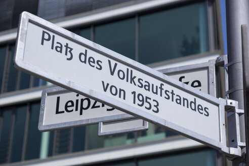 Germany, Berlin, sign of square of Uprising of 1953 in East Germany - WI001098