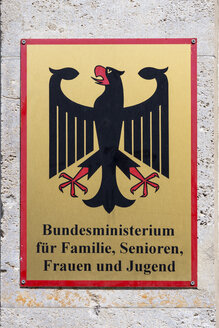Germany, Berlin, sign of Federal Ministry of Family Affairs, Senior Citizens, Women and Youth - WI001101