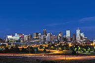 USA, Colorado, Denver, Cityscape and Interstate Highway in the evening - FOF007197