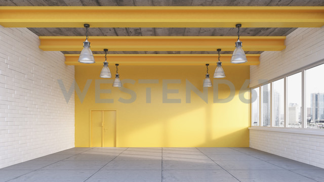 Empty loft with yellow wall, 3D Rendering - UWF000194