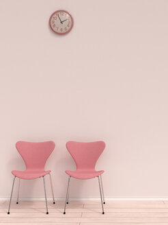 Two pink chairs and a wall clock in a waiting room, 3D Rendering - UWF000197