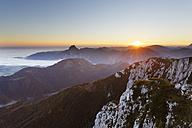 Austria, Upper Austria, Salzkammergut, view from Alberfeldkogel in Hoellen Mountains at sunset - SIEF006005