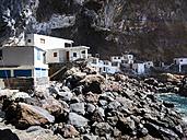 Spain, Canary Islands, La Palma, Tijarafe, Poris de Candelaria at Camino del Prois, Houses in a cave - AMF002887