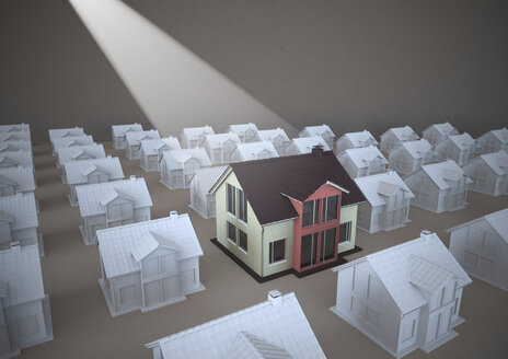 3D rendering, Family homes standing out of rows - ALF000222