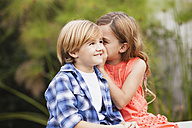 Girl whispering into boy's ear - WESTF020097