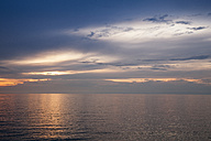 Slovenia, Istria, Slovene Littoral, Izola, Adriatic coast at sunset - WIF001107