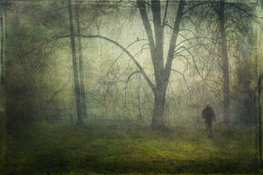 Germany, Wuppertal, man walking in the park during fog and drizzle - DWI000224