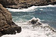 Spain, Balearic Islands, Ibiza, Cala Es Cubells, Meditteranean Sea, waves - TKF000406