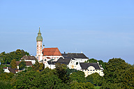 Germany, Bavaria, Upper Bavaria, View of Andechs Abbey - LHF000416
