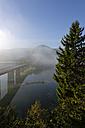 Germany, Bavaria, morning mist at the Sylvenstein Dam - LBF000970