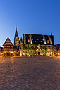 Germany, Saxony-Anhalt, Quedlinburg, town hall at night - PVCF000115