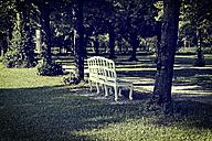 Germany, Bavaria, Schleissheim, park bench in palace garden Lustheim - HOHF001065