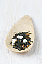 Wooden spoon of Genmaicha on white wood - EVGF000925