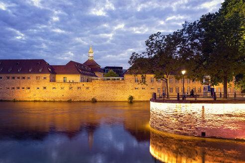 France, Alsace, Strasbourg, Petite France, Barrage Vauban, River Ill in the evening light - MSF004294