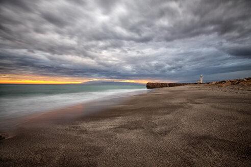 Spain, Andalusia, Natural Park of Cabo de Gata-Nijar, beach and ocean at dusk - DSGF000161