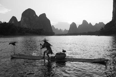China, Guangxi, Xingping, cormorant fisherman on Li river - DSG000232