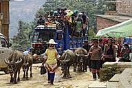 China, Yunnan, Yuanyang, crowded street market in Niu Jiao Zhai Village - DSG000235