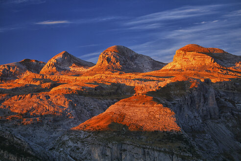 Spain, Ordesa National Park, mountainscape at sunset - DSGF000447