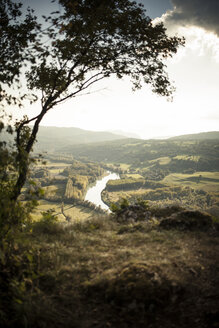 France, Savoy, Jongieux, Rhone Valley and Rhone river in late summer - SBDF001316