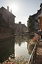 France, Savoy, Annecy, Historic town centre, River Thiou and bridge - SBDF001318