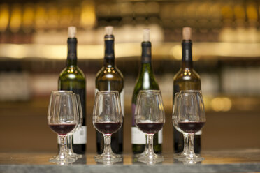 Red wine glasses and wine bottles on a counter of a wine cellar - ZEF001196