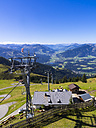Austria, Tyrol, Kitzbuehel Alps, Kitzbuehel, View to Kitzbuehler Horn, Cable car - AM002911
