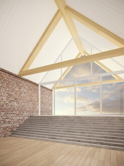 Empty room with roof beams, stair and brick walls, 3D Rendering - UWF000200