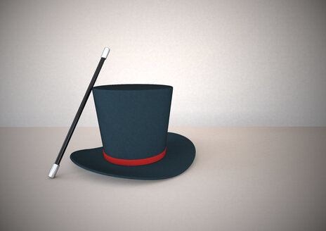 Magic wand and top hat, 3D Rendering - ALF000229