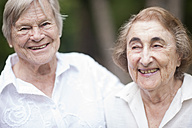 Two smiling senior women in a retirement village - ZEF001293