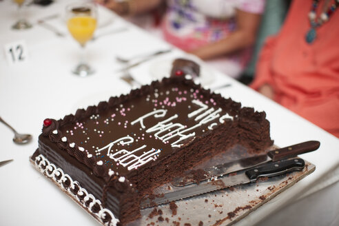 Cut chocolate cake on table - ZEF001294