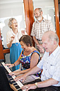 Senior people making music in a retirement village - ZEF001310