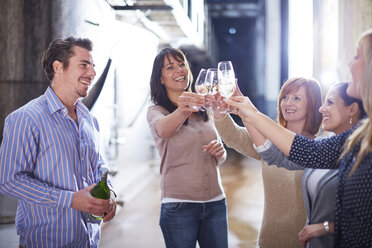 Group of people clinking wine glasses on shop floor - ZEF001456