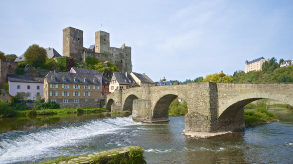 Germany, Hesse, Runkel, Runkel Castle, Lahn Bridge, Lahn river - MHF000337