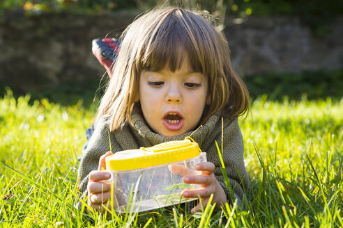 Little girl lying on a meadow with insect can watching fire bugs, Pyrrhocoridae - LVF002014