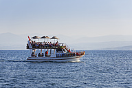 Turkey, Black Sea Region, Sinop Province, Sinop, Black Sea, excursion boat with tourists - SIE006086