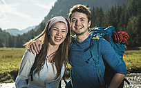 Austria, Tyrol, Tannheimer Tal, portrait of young hiker couple - UUF002096