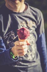 Boy with ice cream cone, partial view - SARF000910