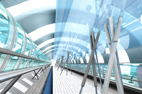 Futuristic passage of railway station, 3D Rendering - SPCF000038