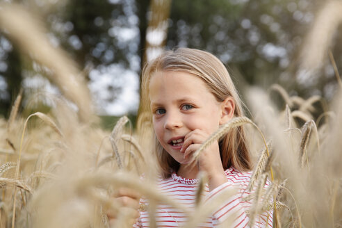 Portrait of little girl standing in a cornfield - FKIF000070
