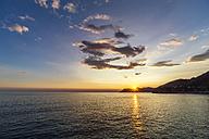 Italy, Liguria, Cinque Terre, Bay of Portofino at sunset - PUF000104