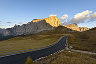 Italy, South Tyrol, Dolomites, Sella pass in the evening light - RJF000333