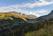 Italy, South Tyrol, Dolomites, Gardena pass with Langkofel in the morning - RJF000331