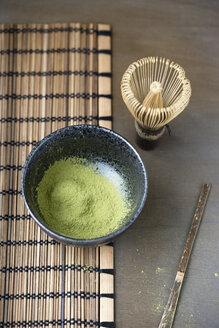 Bowl of Matcha, Matcha whisk, spatula and bamboo place mat - MYF000636