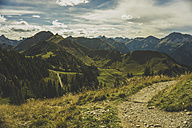 Austria, Tyrol, Tannheimer Tal, hiking trail in mountainscape - UUF002298