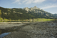 Austria, Tyrol, Tannheimer Tal, mountainscape with lake - UUF002322