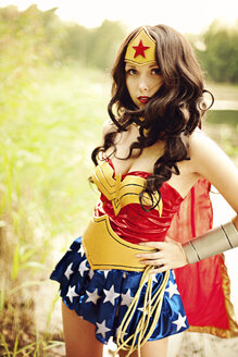 Portrait of woman wearing Super Hero costume - AFF000104